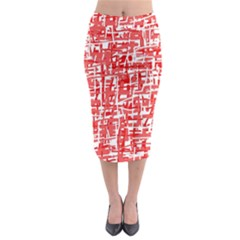 Red Decorative Pattern Midi Pencil Skirt by Valentinaart
