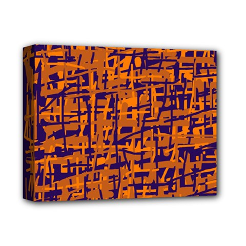 Blue And Orange Decorative Pattern Deluxe Canvas 14  X 11  by Valentinaart