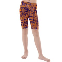 Blue And Orange Decorative Pattern Kid s Mid Length Swim Shorts by Valentinaart