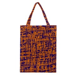 Blue And Orange Decorative Pattern Classic Tote Bag by Valentinaart