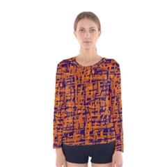 Blue And Orange Decorative Pattern Women s Long Sleeve Tee by Valentinaart