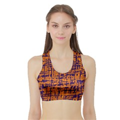 Blue And Orange Decorative Pattern Sports Bra With Border by Valentinaart