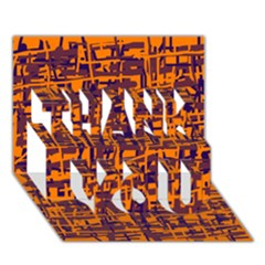 Orange And Blue Pattern Thank You 3d Greeting Card (7x5)