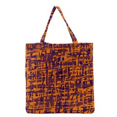 Orange And Blue Pattern Grocery Tote Bag by Valentinaart