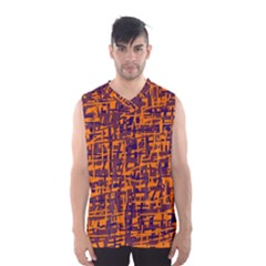 Orange And Blue Pattern Men s Basketball Tank Top by Valentinaart