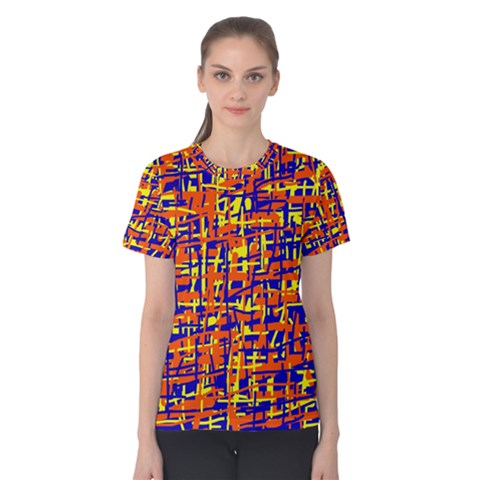 Orange, Blue And Yellow Pattern Women s Cotton Tee by Valentinaart