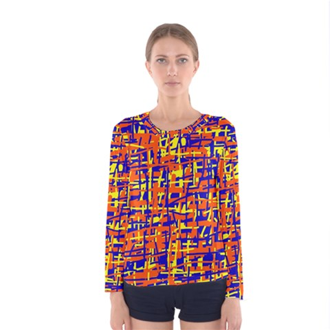 Orange, Blue And Yellow Pattern Women s Long Sleeve Tee by Valentinaart