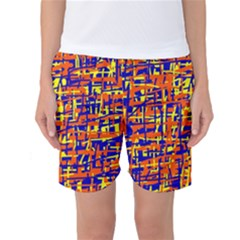 Orange, Blue And Yellow Pattern Women s Basketball Shorts by Valentinaart