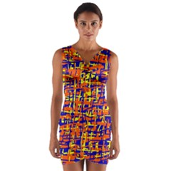 Orange, Blue And Yellow Pattern Wrap Front Bodycon Dress