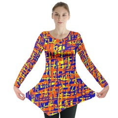 Orange, Blue And Yellow Pattern Long Sleeve Tunic  by Valentinaart