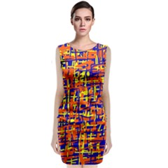 Orange, Blue And Yellow Pattern Classic Sleeveless Midi Dress by Valentinaart