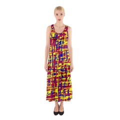 Red, Yellow And Blue Pattern Sleeveless Maxi Dress by Valentinaart