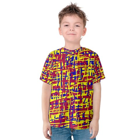 Red, Yellow And Blue Pattern Kid s Cotton Tee by Valentinaart