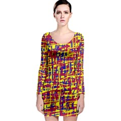 Red, Yellow And Blue Pattern Long Sleeve Bodycon Dress by Valentinaart