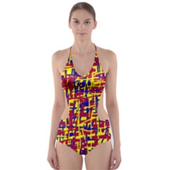 Red, Yellow And Blue Pattern Cut Out One Piece Swimsuit by Valentinaart