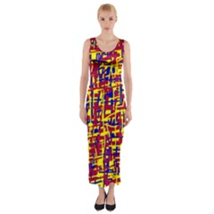 Red, Yellow And Blue Pattern Fitted Maxi Dress by Valentinaart