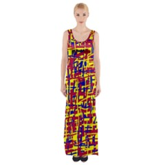 Red, Yellow And Blue Pattern Maxi Thigh Split Dress