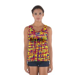 Red, Yellow And Blue Pattern Women s Sport Tank Top  by Valentinaart