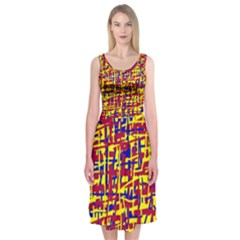 Red, Yellow And Blue Pattern Midi Sleeveless Dress by Valentinaart
