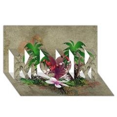 Wonderful Tropical Design With Palm And Flamingo Mom 3d Greeting Card (8x4)  by FantasyWorld7
