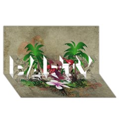 Wonderful Tropical Design With Palm And Flamingo Party 3d Greeting Card (8x4)  by FantasyWorld7