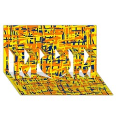 Yellow, Orange And Blue Pattern Mom 3d Greeting Card (8x4)