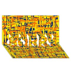 Yellow, Orange And Blue Pattern Sorry 3d Greeting Card (8x4)