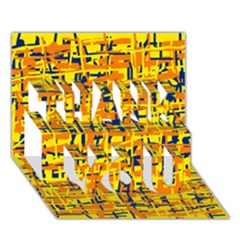 Yellow, Orange And Blue Pattern Thank You 3d Greeting Card (7x5)
