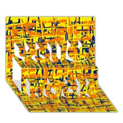 Yellow, Orange And Blue Pattern You Rock 3d Greeting Card (7x5)  by Valentinaart