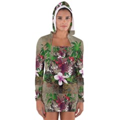 Wonderful Tropical Design With Palm And Flamingo Women s Long Sleeve Hooded T Shirt by FantasyWorld7