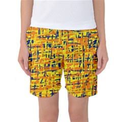 Yellow, Orange And Blue Pattern Women s Basketball Shorts by Valentinaart