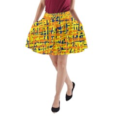 Yellow, Orange And Blue Pattern A Line Pocket Skirt by Valentinaart