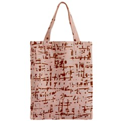 Brown Elegant Pattern Zipper Classic Tote Bag by Valentinaart