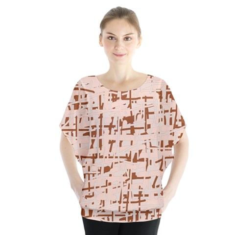 Brown Elegant Pattern Batwing Chiffon Blouse by Valentinaart