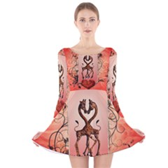 Cute Giraffe In Love With Heart And Floral Elements Long Sleeve Velvet Skater Dress