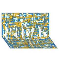 Blue And Yellow Elegant Pattern #1 Dad 3d Greeting Card (8x4)