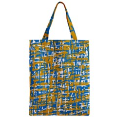 Blue And Yellow Elegant Pattern Zipper Classic Tote Bag by Valentinaart