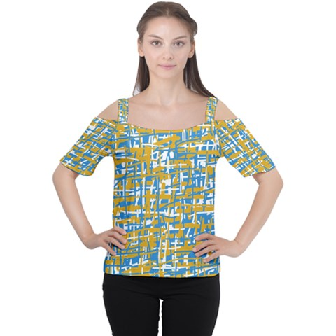 Blue And Yellow Elegant Pattern Women s Cutout Shoulder Tee by Valentinaart