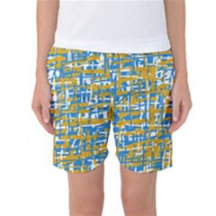 Blue And Yellow Elegant Pattern Women s Basketball Shorts by Valentinaart