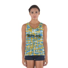 Blue And Yellow Elegant Pattern Women s Sport Tank Top  by Valentinaart