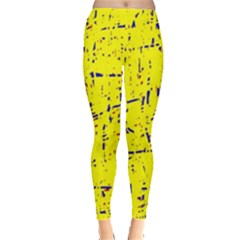 Yellow Summer Pattern Leggings  by Valentinaart
