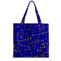 Blue Pattern Zipper Grocery Tote Bag by Valentinaart