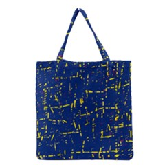 Deep Blue And Yellow Pattern Grocery Tote Bag by Valentinaart