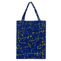 Deep Blue And Yellow Pattern Classic Tote Bag by Valentinaart