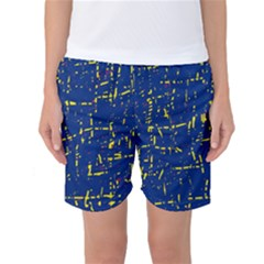 Deep Blue And Yellow Pattern Women s Basketball Shorts by Valentinaart