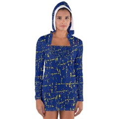 Deep Blue And Yellow Pattern Women s Long Sleeve Hooded T Shirt by Valentinaart