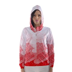 Red Pattern Hooded Wind Breaker (women) by Valentinaart