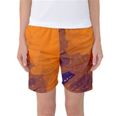 Orange And Blue Artistic Pattern Women s Basketball Shorts by Valentinaart