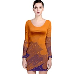 Orange And Blue Artistic Pattern Long Sleeve Velvet Bodycon Dress by Valentinaart