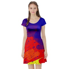 Colorful Pattern Short Sleeve Skater Dress by Valentinaart